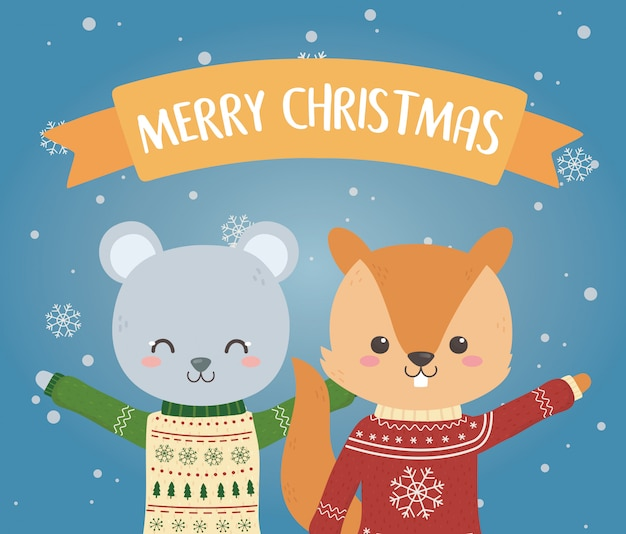 Merry christmas celebration bear and squirrel with ugly sweater