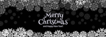 Merry christmas celebration card banner template design