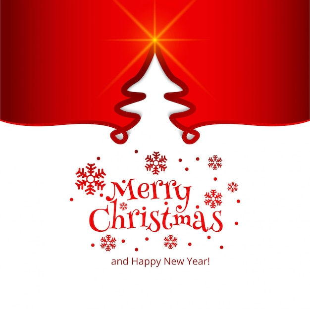 Merry christmas celebration card tree background