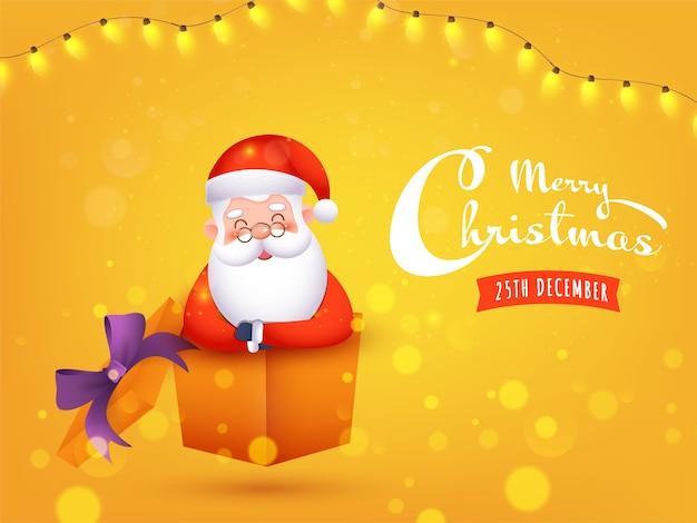 선물 상자 안에 귀여운 산타 클로스와 함께 메리 크리스마스 축하 개념