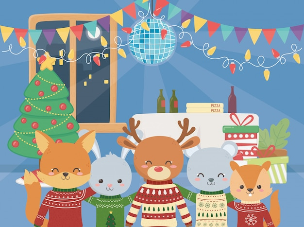 Merry christmas celebration cute animals party music food tree ball lights