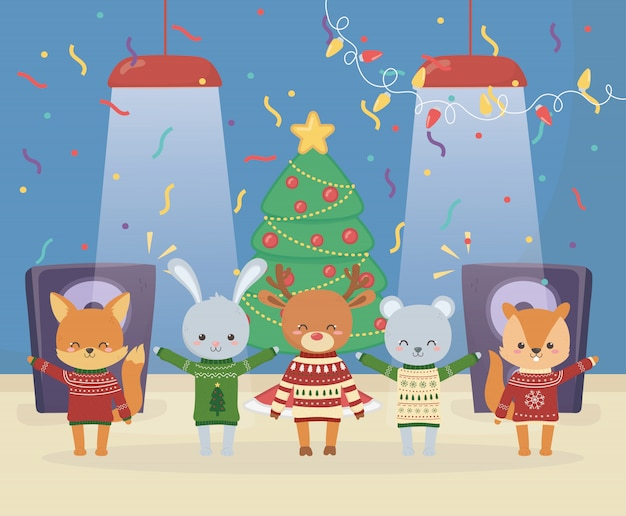 Merry christmas celebration cute animals with sweater glow lights tree music speaker