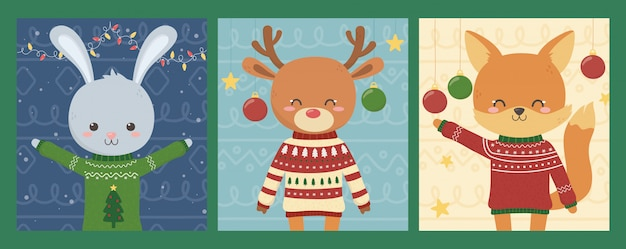 Merry christmas celebration cute animals with ugly sweaters