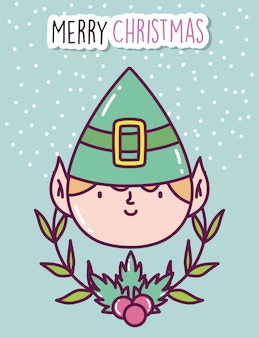 Merry christmas celebration cute helper face branch holly berry