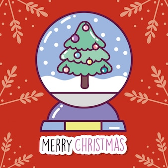 Merry christmas celebration decorative tree crystal ball branches background