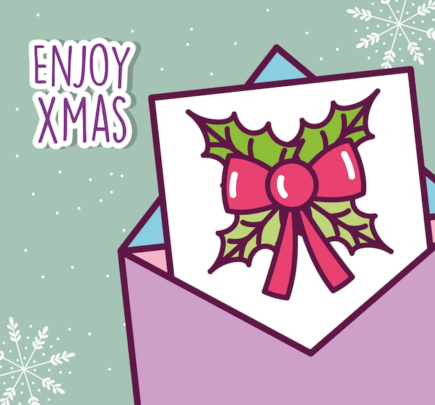 Merry christmas celebration envelope message bow decoration