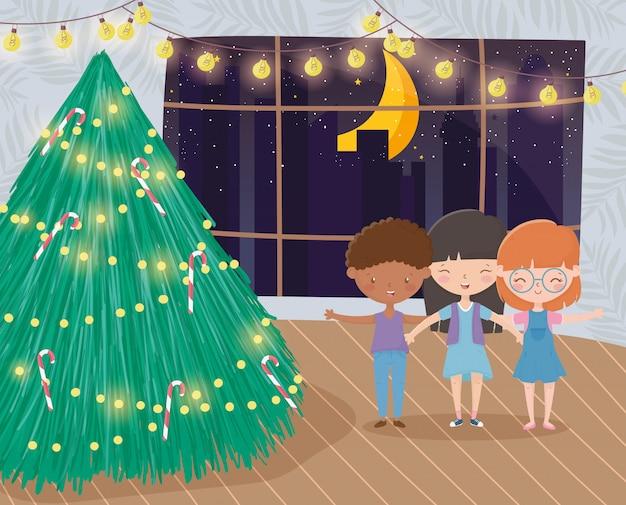 Premium Vector Merry Christmas Celebration Funny Kids Tree Bright Lights Night Living Room