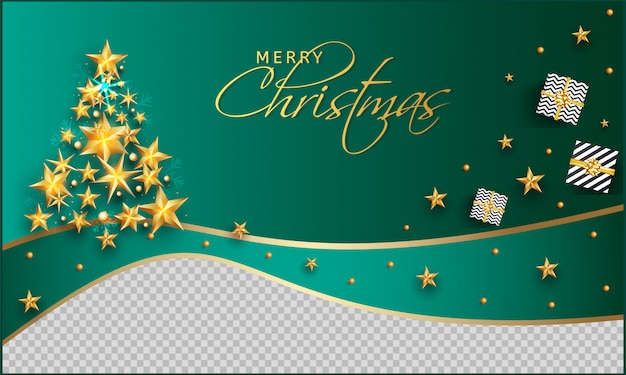Merry christmas celebration greeting card  decorated with top view of gift box, golden stars and baubles on green and png .
