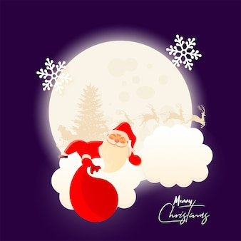 Merry christmas celebration greeting card  with illustration of santa claus holding a bag on full moonlight purple