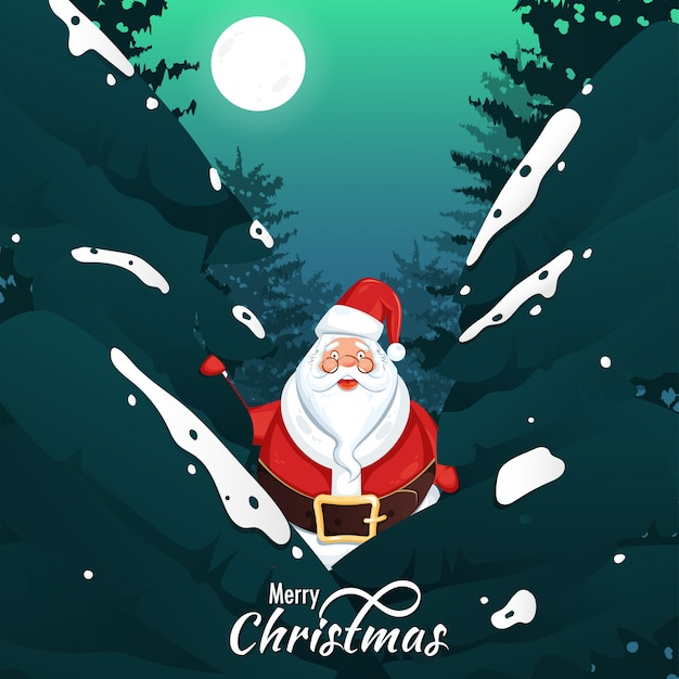 Merry christmas celebration greeting card with santa claus character and xmas tree on full moon background.