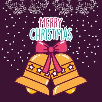 Merry christmas celebration jingle bells gift bow snow decoration