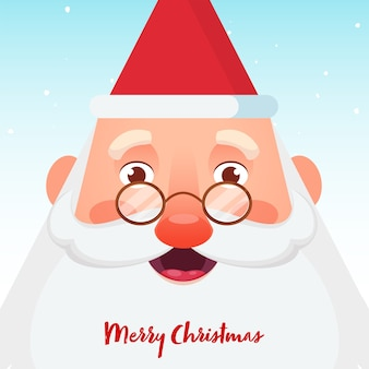 Merry christmas celebration poster design with cheerful santa claus face on light blue background