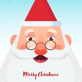 밝은 파란색 배경에 밝은 산타 클로스 얼굴로 메리 크리스마스 축하 포스터 디자인