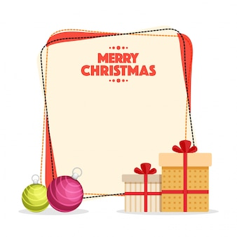 С рождеством христовым праздничный плакат с глянцевыми шарами и подарочными коробками