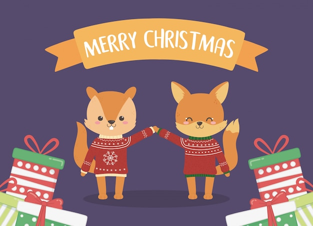 Merry christmas celebration squirrel and fox with red sweaters and gifts pile