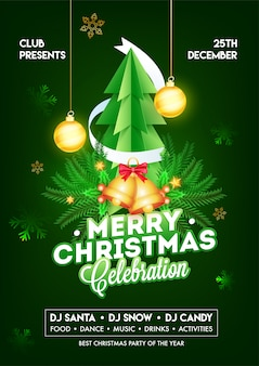 Merry christmas celebration template or flyer  with paper cut xmas tree, jingle bell, pine leaves and hanging baubles decorated on green .