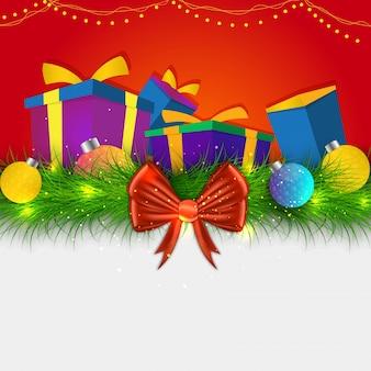 Концепция рождества христова с подарочными коробками, рождественскими шарами и елкой