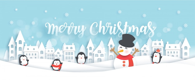 Merry christmas celebrations with cute penguins and snowman in the snow village illustration