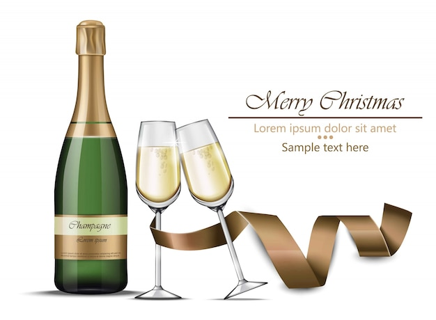 Merry christmas champagne bottle and glasses