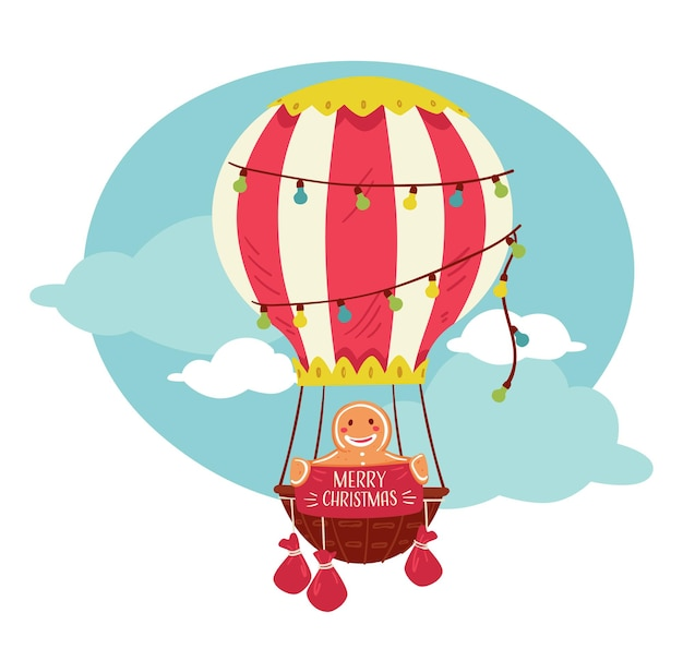 Merry christmas, character in hot air balloon, gingerbread man cookie flying in vintage transport with garlands, sitting in basket