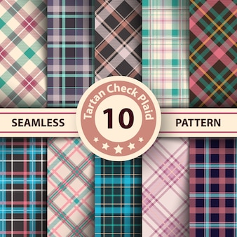 Merry christmas check plaid seamless patterns.