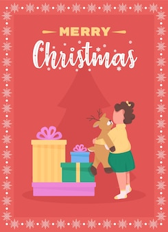 Merry christmas to children greeting card flat template. winter holiday gifts under xmas tree. brochure, booklet one page concept design with cartoon characters. happy new year flyer, leaflet