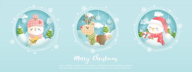 С рождеством, рождественская открытка, баннер со старинным снеговиком.