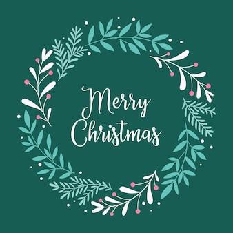 Счастливого рождества. рождественская открытка с венком из веток, ягод и надписью в скандинавском стиле. фон для баннера, печати, плаката, открытки. векторная иллюстрация.