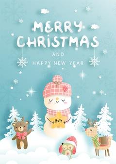 С рождеством христовым, рождественская открытка со старинным снеговиком.