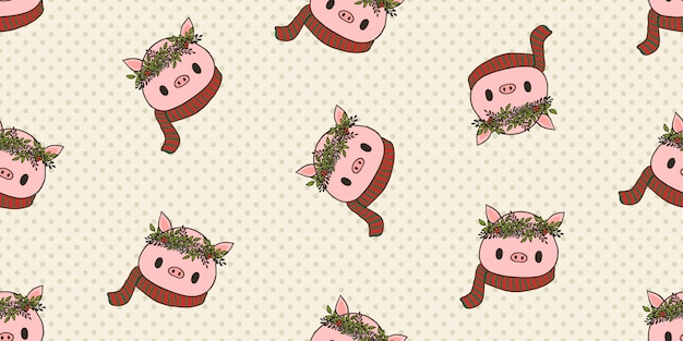 Merry christmas, christmas costume pig seamless pattern.