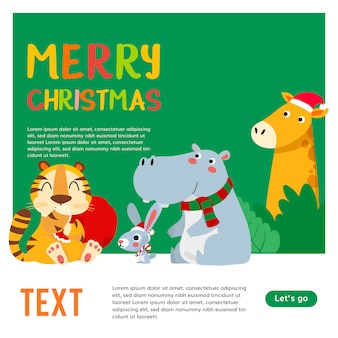 Merry christmas. christmas cute animals character. happy christmas companions. tiger, rabbit, hippopotamus, giraffe and zebra scene.