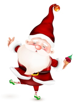 メリークリスマス。冬と年末年始のクリスマスかわいい、サンタ句。のクリスマステーマのイラスト。冬、年末年始のサンタクロースの幸せな漫画のキャラクター
