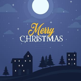 メリー クリスマス、クリスマスのグリーティング カードのデザイン、星と夜空に月。