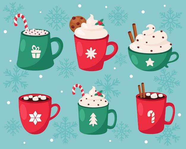 메리 크리스마스. 크리스마스 뜨거운 음료 컬렉션.