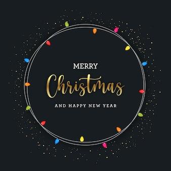 電球付きメリークリスマス円形グレッティング