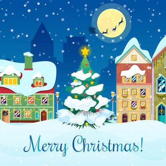 Merry christmas cityscape with snowfall, christmas tree and santa with reindeers greeting card.  background