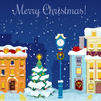 Merry christmas cityscape with snowfall, houses and christmas tree greeting card.