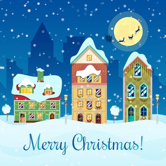 Merry christmas cityscape with snowfall, houses and santa with reindeers greeting card.  background