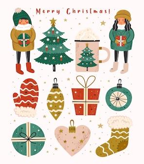 要素のメリークリスマスクリップアートセット。