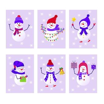 新年あけましておめでとうございますプレゼントのための雪だるまと雪片のかわいいグリーティングカードのメリークリスマスコレクション。招待状、子供部屋、保育園の装飾、インテリアデザイン、ステッカー用のスカンジナビアスタイルのセット