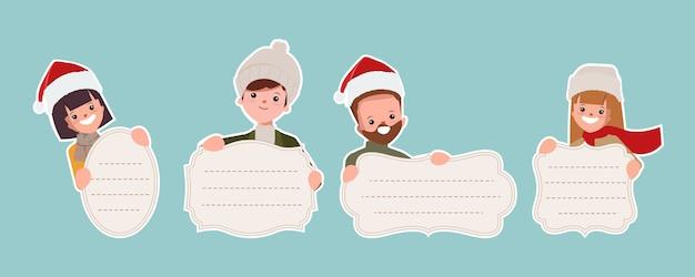 빈티지 배너를 들고 만화 사람들과 메리 크리스마스 컬렉션입니다.