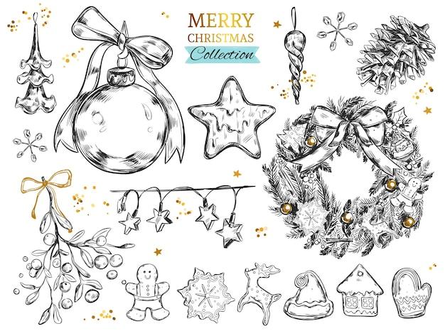 Веселая рождественская коллекция с рисованными иллюстрациями