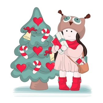 Merry christmas color vector illustration set gifts for girl