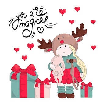 Merry christmas color vector illustration set magic gifts
