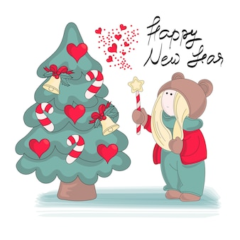 Merry christmas color vector illustration set my new year
