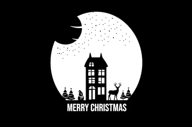 Merry christmas color white and black