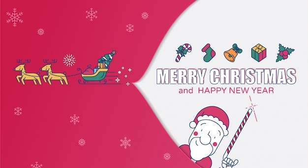 Merry christmas colored line vector illustration.