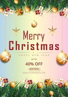 輝く点と金色の星と泡または凝視ベクトルとメリークリスマスカラフルな背景