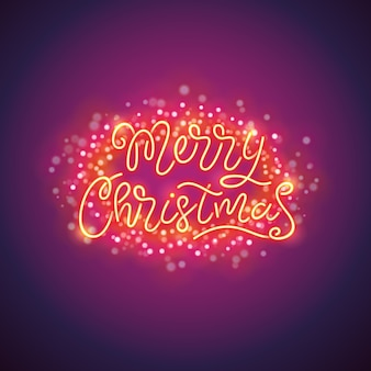 Merry christmas colorful poster with magic sparkles