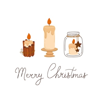 Веселая рождественская композиция со свечами